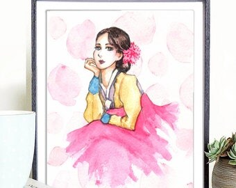 Korean hanbok print, hanbok digital, hanbok printable, hanbok art print, Korean art print, hanbok illustration, digital hanbok art print