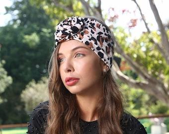 Leopard headband, flower headpiece,  flower headband, top knot headband, women headband, turban headband, holiday headband