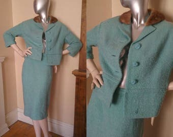 Two Piece Suit 1960s Sky Blue Fur Collar Wool Mad Men Vintage Style