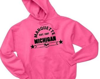 marquette sweatshirt, marquette hoodie, marquette apparel, michigan apparel, yooper apparel, upper michigan hoodie, state shirt, hoodie