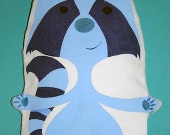 Large heating pad-blue raccoon - OOAK