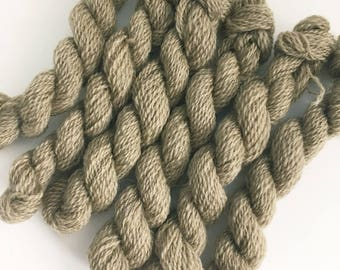 Hand dyed embroidery yarn | plant dyed | nut brown | embroidery wool | wool | laceweight knitting | cross stitch | tapestry | weaving