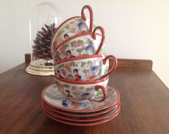 4 Japanese ceramic cups and saucers - Coffee cup - Tea cup - Vintage Japanese - Vintage Japan - 60s / 70s