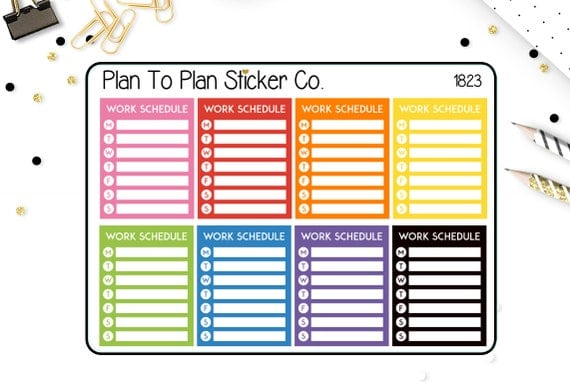 1823weekly work schedule tracker planner stickers