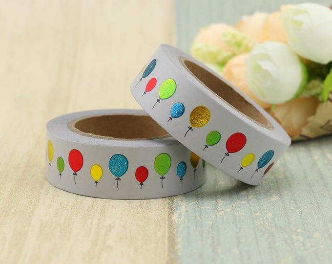 Foil Birthday Balloon Washi Tape - Foiled  Washi Tape -  washi Tape - Paper Tape - Planner Washi Tape - Decorative Tape - foiled washi