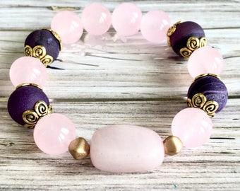 Rose Quartz Stretch Bracelet, Women Beaded Bracelet, Agate Stretch Bracelet, May Birthstone, Gemini Birthstone , Birthday Gift