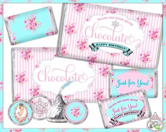Winter One-derland-Candy Kisses & Chocolate Bar Wraps-Plain and Theme-Party Printable-Birthday-Mothers Day-Shabby Chic Parties-Decorations