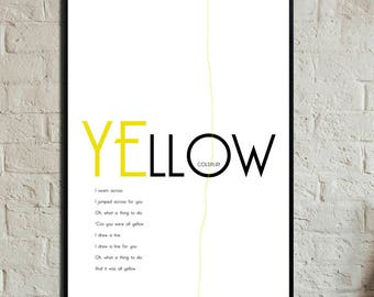 Yellow Poster. Instant Download. Coldplay posters. Digital printing. Scandinavian style. Gift for him. Gift for her.