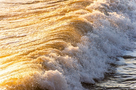 LIQUID GOLD. Breaking Wave, Coastal Art, Seascape Print, Ocean Print, Wave Print.