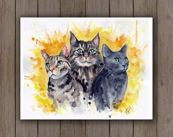 Watercolour Art Print - Cat Trio Pet Portrait / Bengal, Maine Coon, Russian Blue on Yellow Sunburst Handpainted Watercolor Kittens Cat Lover