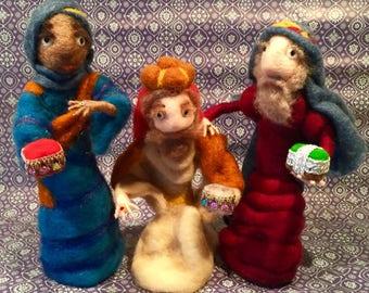 Nativity figurines, the three wise men figurines, needle felted nativity, waldorf nativity, the three Magi, Christmas ornament