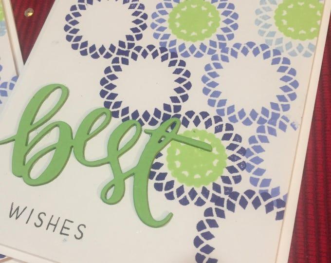 Handmade Card, Stamped Card, Best Wishes Card, Geometric Card, Masculine Card, Birthday Card, Customizable Card, Versatile Card