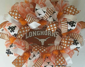 Texas Longhorn Wreath, University of Texas, Collegiate Wreath, Sports Wreath, Longhorn Wreath, Hook'em Horns Wreath, Longhorn Spirit Wreath