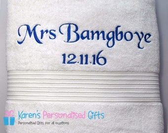 Personalised White Towel, Embroidered Luxury Towels 700gsm, Hand towel, Bath Towel.