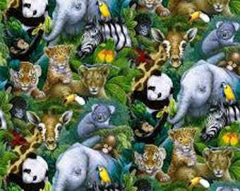 "Baby Jungle Animals by Davids Textiles, by the half yard, 43-44"" wide, 100% cotton - novelty fabric - animal fabric - jungle fabric"