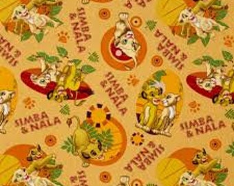"Lion King simba and nala by Springs Creative - by the half yard - 43-44"" wide, 100% cotton - cartoon fabric - character fabric"