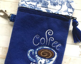 Blue Coffee Pouch - Small Zippered Pouch - Accessories Pouch - Coffee Lover - Applique Pouch - Coffee Gift - But First Coffee