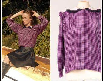 Checkered Purple Blouse