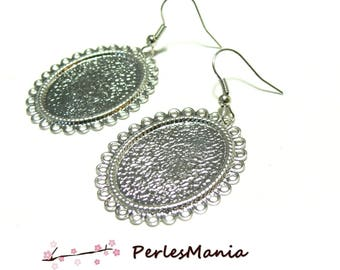 2 crochet wave flat oval 18 by 25mm ID26761 Platinum Silver Earring