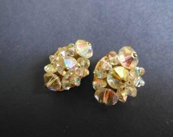 1950s Faceted Crystal Bead Cluster Earrings, Clip On Earrings