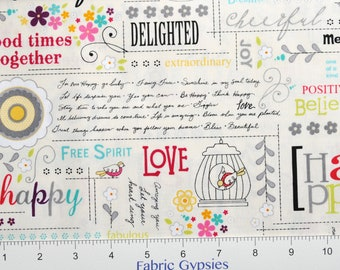 "AdornIt ""Rhapsody Collection"" ~ Rhapsody Chatter ~ 00501 ~ Happy Words on a Cream Background ~  By The Half Yard ~"