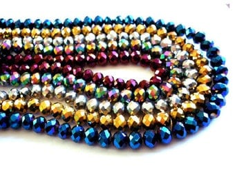 Set of 10 8 mm x 6 mm faceted silver glass Crystal beads