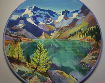 Alpine Lake, original painting on wood plate