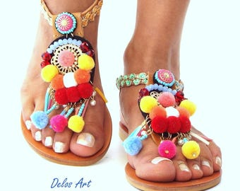 Sandals, Pom Pom sandals, leather Sandals, boho Sandals,  Greek Sandals, barefoot, hippie leather shoes, Summer shoes