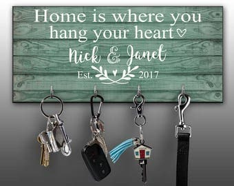 Personalized Key Ring Holder, Family Key Holder, Home Key Rack, Couples Key Hanger, Housewarming Gift, Wall Mount Key Holder, Custom Key