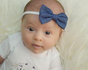 Denim Bow Nylon Headband, baby headband, jean bow, denim headband, newborn headband, nylon baby headbands, bow baby headbands