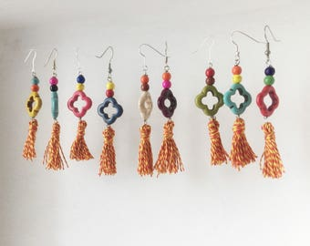 Boho Earrings with colorful turquoise and silk nappins