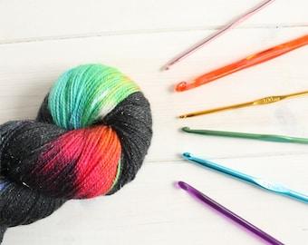 Reverse Rainicorn - Adventure Time themed hand dyed yarn - 100g sparkle sock yarn - superwash merino wool