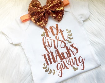 My First Thanksgiving, girl thanksgiving outfit, thanksgiving set, baby holiday outfit, thanksgiving shirt, newborn, 1st thanksgiving, baby