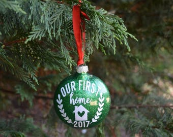 Our First Home Ornament, Personalized Ornament, Glitter Ornament, Christmas Tree Ornament, Housewarming Gift, New Home Ornament