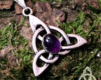 Elven Celtic necklace Celtic Triquetra knot tracery gemstone purple amethyst silver medieval fantasy