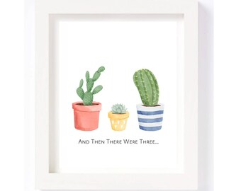 Cactus Family | And Then There Were Three | Gender Neutral Yellow Baby Girl or Boy, New Baby Nursery Wall Art Printable Automatic Download