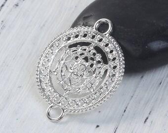 5 connectors Style Mandala / Buddhist 3.7 cm silvered Metal openwork / Zen Collection