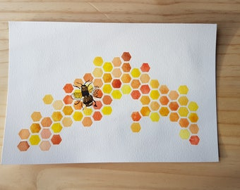 "Original Watercolour ""The Lone Bee Builds"" Painting with Gold Foil Detail"