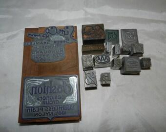 16 Print blocks - Vintage Letterpress Advertising Printing Blocks - Wood and Metal - Simco Nylons, S&H Green Stamps, Good Year, Skull +47-52