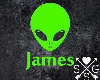 Alien Car Decal Alien Head Laptop Decal Alien Sticker