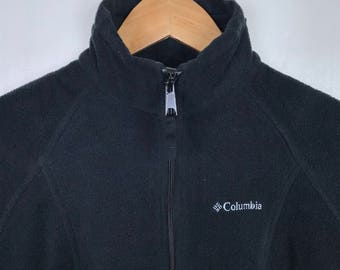 Rare !! COLUMBIA SPORTSWEAR Outdoor Hiking Fishing Equipment Black Fleece Sweater Jacket Small Size