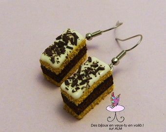 Jewelry greedy, Neapolitan cake, polymer clay earrings