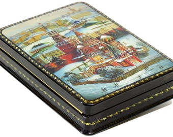 "Russian Lacquer Box - ""St.Basil Cathedral in winter. Red Square, Moscow."" - Medium Size - Hand Painted in Russia"