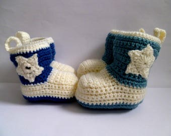 Cowboy Cowgirl Boots Crochet Baby Booties Shoes - Country & Western - Baby Shower Gift - Birthday Present