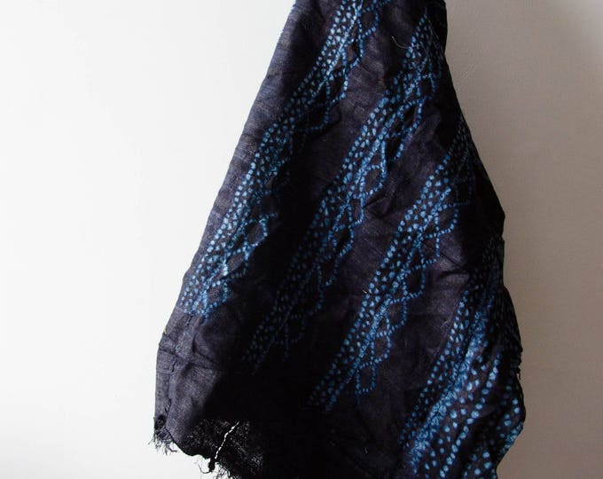 Vintage Hand dyed Indigo tablecloth/ throw blanket