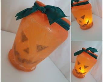 Halloween Pumpkin Lantern / children's night light / upcycled jar