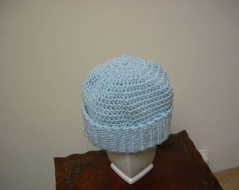 Adult Crocheted Light Blue Warm Winter Hat, Beanie, Cap. Perfect for cold weather. Winter Gift, Christmas Gift