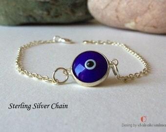 Blue Evil Eye Bracelet, Sterling Silver Evil Eye, Protection Jewelry, Tiny Evil Eye Bracelet, Minimal Evil Eye Bracelet
