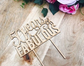 CLEARANCE! 1 ONLY Timber 50 years of Fabulous Cake Topper 50th Birthday Cake Topper Cake Decoration Cake Decorating Birthday Cakes 50 Cake T