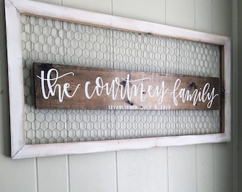 Family Est Sign// Home Decor // Wood Sign